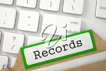 Records written on Green File Card Lays on White PC Keyboard. Closeup View. Blurred Image. 3D Rendering.