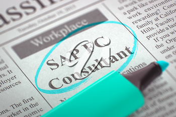 SAP FC Consultant - Small Advertising in Newspaper, Circled with a Azure Highlighter. Blurred Image with Selective focus. Job Search Concept. 3D Illustration.
