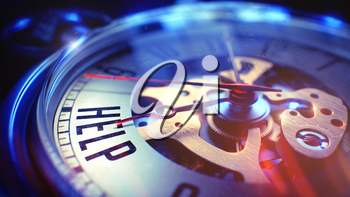 Help. on Watch Face with Close Up View of Watch Mechanism. Time Concept. Lens Flare Effect. Pocket Watch Face with Help Text on it. Business Concept with Vintage Effect. 3D Illustration.