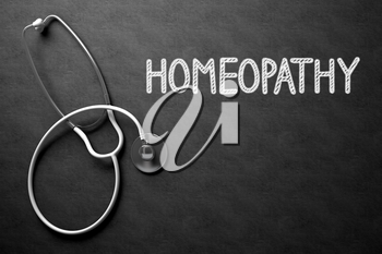Medical Concept: Homeopathy Handwritten on Black Chalkboard. Black Chalkboard with Homeopathy - Medical Concept. 3D Rendering.