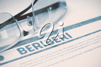 Beriberi - Medicine Concept with Blurred Text and Eyeglasses on Blue Background. Selective Focus. 3D Rendering.