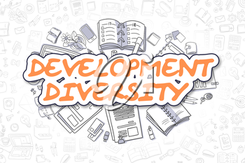 Cartoon Illustration of Development Diversity, Surrounded by Stationery. Business Concept for Web Banners, Printed Materials.