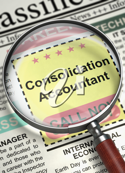 Consolidation Accountant - CloseUp View Of A Classifieds Through Loupe. Column in the Newspaper with the Jobs of Consolidation Accountant. Job Search Concept. Blurred Image. 3D Render.