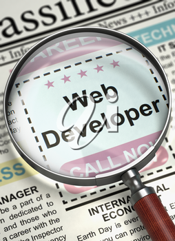 Web Developer - Job Vacancy in Newspaper. Web Developer - Close Up View of Jobs in Newspaper with Magnifier. Job Search Concept. Selective focus. 3D Illustration.