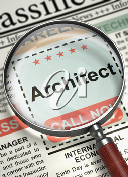 Architect - Small Ads of Job Search in Newspaper. Magnifying Lens Over Newspaper with Small Ads of Job Search of Architect. Job Seeking Concept. Blurred Image with Selective focus. 3D Rendering.