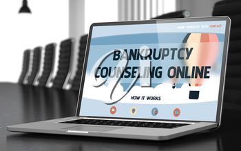 Closeup Bankruptcy Counseling Online Concept on Landing Page of Laptop Screen in Modern Conference Room. Toned Image with Selective Focus. 3D Illustration.