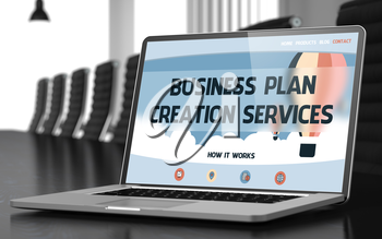Modern Meeting Hall with Laptop Showing Landing Page with Text Business Plan Creation Services. Closeup View. Blurred Image. Selective focus. 3D Rendering.