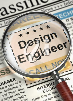 Magnifying Glass Over Newspaper with Jobs Section Vacancy of Design Engineer. Column in the Newspaper with the Job Vacancy of Design Engineer. Concept of Recruitment. Blurred Image. 3D Rendering.