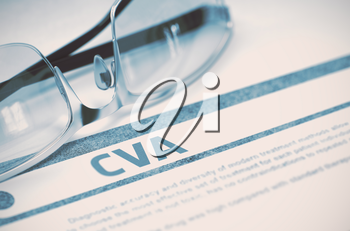 CVA - Cerebrovascular Accident - Medical Concept on Blue Background with Blurred Text and Composition of Glasses. 3D Rendering.
