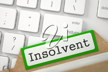 Insolvent. Green Index Card Overlies White PC Keypad. Business Concept. Closeup View. Blurred Illustration. 3D Rendering.