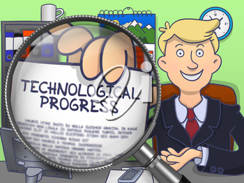Technological Progress. Happy Business Man in Office Workplace Showing Paper with Text through Magnifying Glass. Multicolor Doodle Illustration.