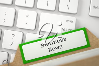 Business News Concept. Word on Green Folder Register of Card Index. Closeup View. Selective Focus. 3D Rendering.