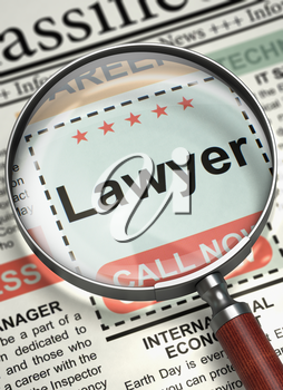 Lawyer. Newspaper with the Jobs. Lawyer - Classified Ad in Newspaper. Hiring Concept. Blurred Image with Selective focus. 3D.