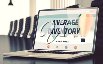 Average Inventory on Landing Page of Mobile Computer Display. Closeup View. Modern Conference Room Background. Blurred. Toned Image. 3D Render.