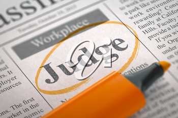 Judge. Newspaper with the Vacancy, Circled with a Orange Marker. Blurred Image with Selective focus. Job Search Concept. 3D Rendering.