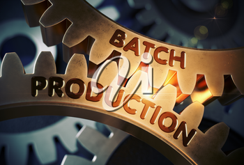 Batch Production on the Mechanism of Golden Cogwheels. Batch Production - Industrial Illustration with Glow Effect and Lens Flare. 3D Rendering.