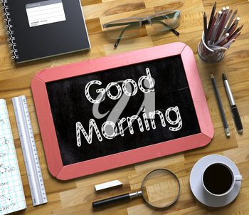 Small Chalkboard with Good Morning. Good Morning Handwritten on Red Chalkboard. Top View Composition with Small Chalkboard on Working Table with Office Supplies Around. 3d Rendering.