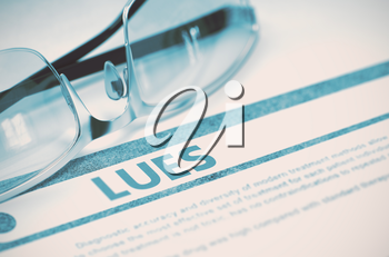 Diagnosis - Lues. Medicine Concept on Blue Background with Blurred Text and Specs. Selective Focus. Lues - Medicine Concept on Blue Background with Blurred Text and Composition of Specs. 3D Rendering.