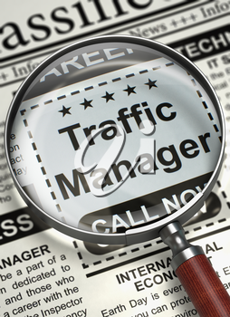 Traffic Manager - CloseUp View of Jobs Section Vacancy in Newspaper with Loupe. Traffic Manager - Close Up View Of A Classifieds Through Loupe. Job Search Concept. Blurred Image. 3D Render.