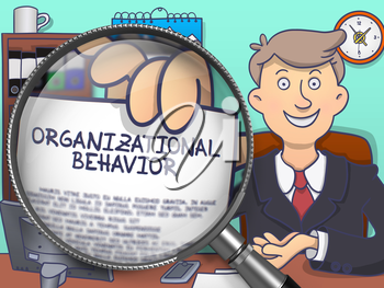Organizational Behavior. Officeman in Office Workplace Showing a through Magnifying Glass Text on Paper. Multicolor Doodle Illustration.