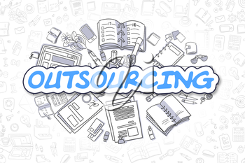 Cartoon Illustration of Outsourcing, Surrounded by Stationery. Business Concept for Web Banners, Printed Materials.