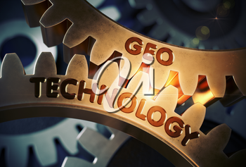 Geo Technology - Technical Design. Geo Technology on the Mechanism of Golden Cogwheels with Glow Effect. 3D Rendering.