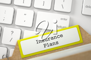 Insurance Plans. Yellow Folder Register on Background of White Modern Keypad. Archive Concept. Closeup View. Selective Focus. 3D Rendering.