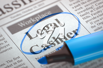 Newspaper with Jobs Section Vacancy Legal Cashier. Blurred Image with Selective focus. Job Seeking Concept. 3D Illustration.