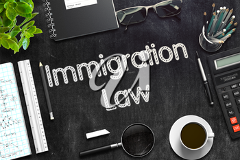 Black Chalkboard with Immigration Law Concept. 3d Rendering. Toned Illustration.