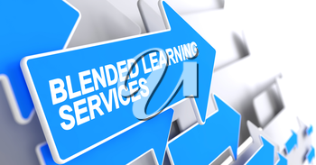 Blended Learning Services, Label on the Blue Arrow. Blended Learning Services - Blue Cursor with a Text Indicates the Direction of Movement. 3D Render.