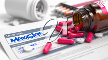 Measles - Handwritten Diagnosis in the Anamnesis. Medical Concept with Red Pills, Close View, Selective Focus. Measles Phrase in Medical History. CloseUp View of Medical Concept. 3D.