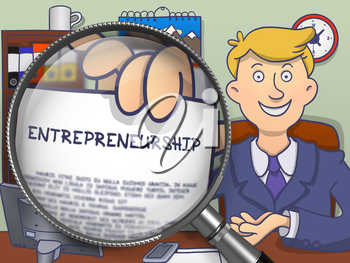 Entrepreneurship. Concept on Paper in Officeman's Hand through Magnifying Glass. Colored Modern Line Illustration in Doodle Style.