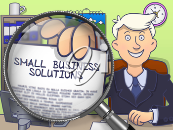 Small Business Solutions. Businessman in Office Workplace Shows through Magnifying Glass Paper with Text. Multicolor Modern Line Illustration in Doodle Style.