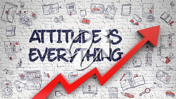 Attitude Is Everything Drawn on Brick Wall. Illustration with Hand Drawn Icons. Attitude Is Everything - Development Concept. Inscription on the Brick Wall with Doodle Icons Around.