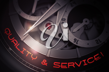 Luxury Watch Machinery Macro Detail with Inscription Quality And Service. Elegant Watch with Quality And Service on Face, Symbol of Time. Business Concept with Lens Flare. 3D Rendering.