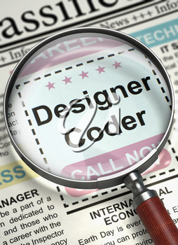 Designer Coder. Newspaper with the Small Advertising. Designer Coder - Close Up View Of A Classifieds Through Magnifying Lens. Job Seeking Concept. Selective focus. 3D Illustration.