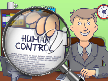 Human Control on Paper in Man's Hand to Illustrate a Business Concept. Closeup View through Lens. Colored Modern Line Illustration in Doodle Style.