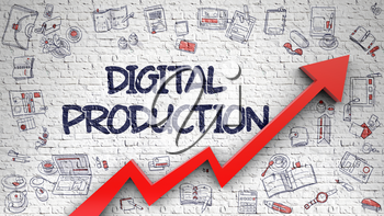 Digital Production - Increase Concept with Hand Drawn Icons Around on Brick Wall Background. Digital Production Drawn on White Brick Wall. Illustration with Doodle Icons.