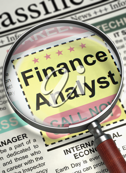 Finance Analyst - Close Up View Of A Classifieds Through Loupe. Newspaper with Searching Job Finance Analyst. Job Seeking Concept. Blurred Image. 3D.