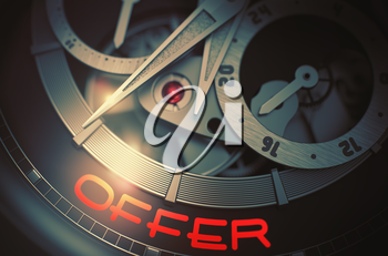 Luxury Men Wristwatch Machinery Macro Detail and Inscription - Offer. Old Watch with Offer Inscription on Face. Time and Work Concept with Glowing Light Effect. 3D Rendering.
