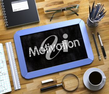 Motivation Handwritten on Blue Small Chalkboard. Top View of Wooden Office Desk with a Lot of Business and Office Supplies on It. Motivation Concept on Small Chalkboard. 3d Rendering.