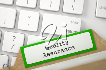 Quality Assurance. Green File Card on Background of Computer Keyboard. Business Concept. Closeup View. Blurred Image. 3D Rendering.