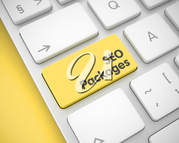 Service Concept with Aluminum Enter Yellow Keypad on Keyboard: SEO Packages. Modernized Keyboard Button Showing the Inscription SEO Packages. Message on Keyboard Yellow Keypad. 3D Render.