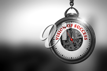 Pocket Watch with Vision Of Success Text on the Face. Vision Of Success Close Up of Red Text on the Vintage Watch Face. 3D Rendering.