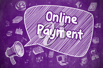 Business Concept. Megaphone with Text Online Payment. Doodle Illustration on Purple Chalkboard. Yelling Horn Speaker with Text Online Payment on Speech Bubble. Doodle Illustration. Business Concept.