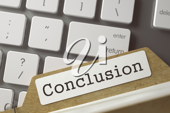 Conclusion written on  Card Index Lays on Computer Keyboard. Archive Concept. Closeup View. Selective Focus. Toned Illustration. 3D Rendering.