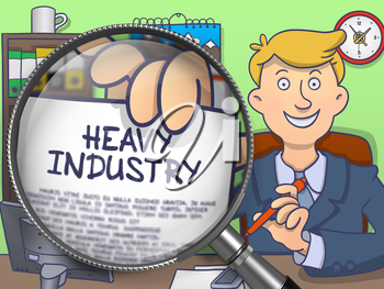 Business Man in Suit Holds Out a Text on Paper Heavy Industry Concept through Magnifier. Closeup View. Multicolor Doodle Style Illustration.