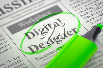 Digital Designer - Classified Advertisement of Hiring in Newspaper, Circled with a Green Highlighter. Blurred Image. Selective focus. Job Seeking Concept. 3D.