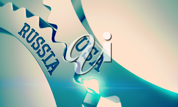 Message Usa Russia on the Metal Gears - Business Concept. Usa Russia on the Mechanism of Metallic Gears. Communication Concept in Industrial Design. 3D.