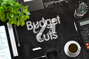 Budget Cuts Handwritten on Black Chalkboard. Top View Composition with Black Chalkboard with Office Supplies Around. 3d Rendering. Toned Illustration.